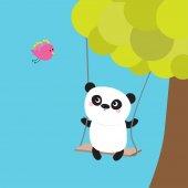 Panda ride on swing