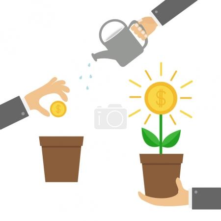 Money tree, watering can, seed Coin