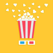 3D paper red blue glasses and big popping popcorn box Cinema movie night icon in flat design style Yellow background Vector illustration