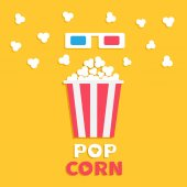 3D paper red blue glasses and big popping popcorn box Fast food Cinema movie icon in flat dsign style Yellow background with text Vector illustration