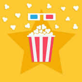 3D paper red blue glasses and big popping popcorn box Cinema movie night icon in flat design style Star shadow Yellow background Vector illustration