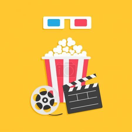 Popcorn box and cinema glasses