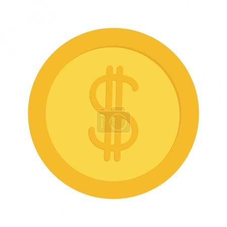 Illustration pour Monnaie en or avec signe dollar. Une icône du cash business. Concept de richesse. Design plat. Isolé. Fond blanc. Illustration vectorielle - image libre de droit