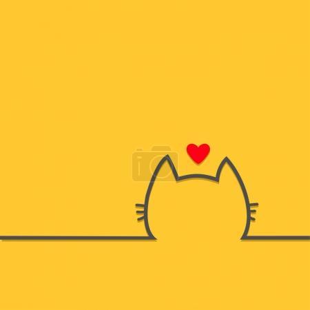 Illustration pour Chat noir tête contour silhouette ligne icône au visage. Coeur rouge. Personnage de dessin animé mignon. Chaton Kitty avec moustaches fond jaune pour animaux de compagnie de bébé. Design plat isolé illustration vectorielle - image libre de droit