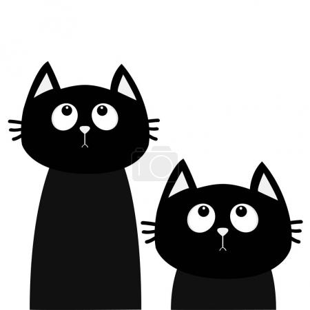 Two black cats looking up