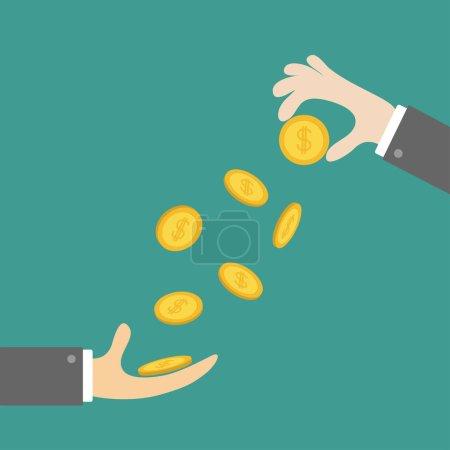 Illustration pour Mains masculines jetant des icônes pièces d'or. Dollar argent pluie sur fond bleu, illustration vectorielle - image libre de droit