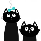 Two Cute black cats Isolated on White background Vector illustration