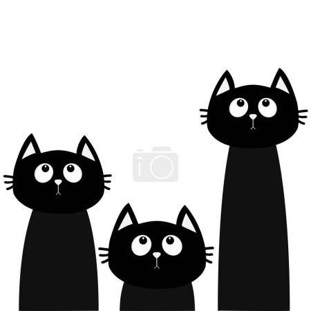 Three black cats looking up