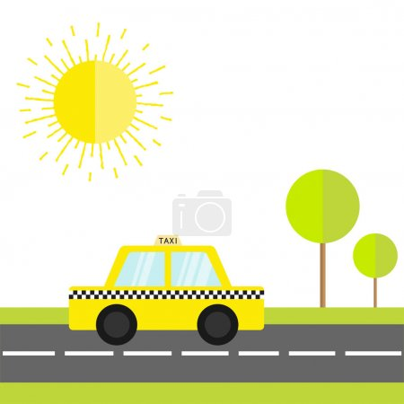 Taxi car cab icon on road