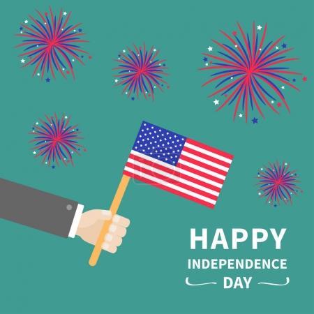Businessman hand holding american flag