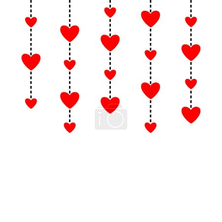 Illustration for Hanging red hearts. Dash line. Happy Valentines Day. Love greeting card. White background. Isolated. Flat design. Vector illustration - Royalty Free Image