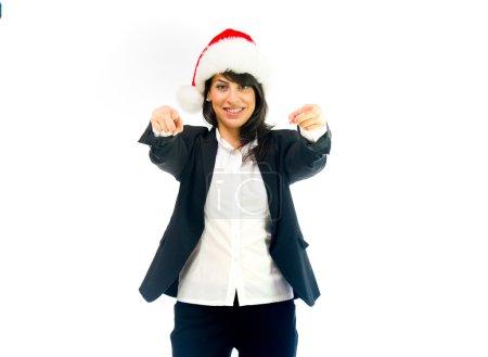 Santa woman pointing fingers