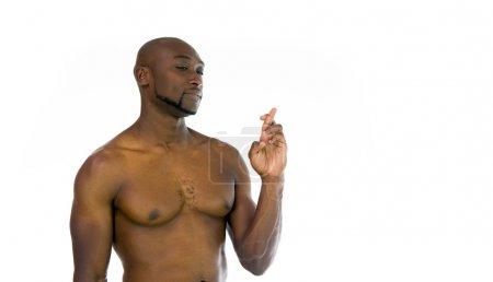 African american man crossed fingers
