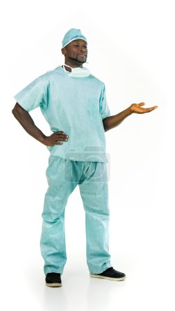 african american doctor presenting  with hand