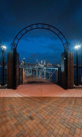 Gateway to Weehawken Pier at night