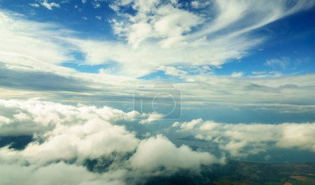 Photo for Aerial view from aircraft of clouds in the sky over Belgium. belgium europe - Royalty Free Image