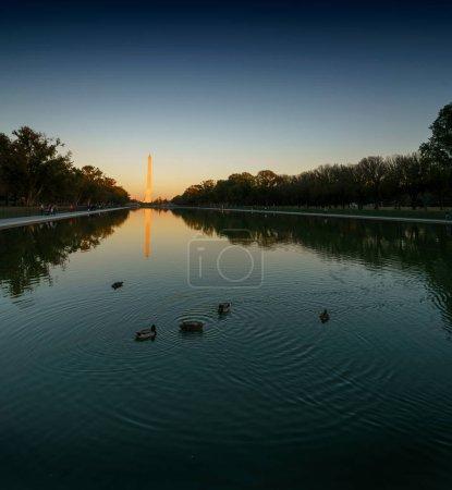 Photo for Washington Monument and the Reflecting Pool at dusk, Washington DC, USA - Royalty Free Image