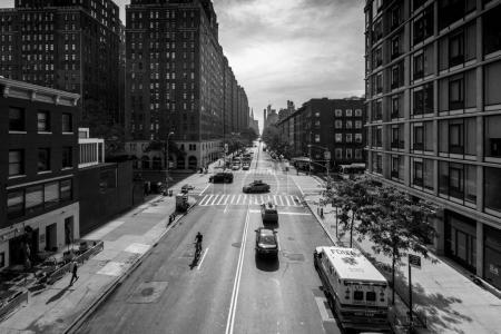 Photo for New York city street scene, black and white, New York, USA - Royalty Free Image