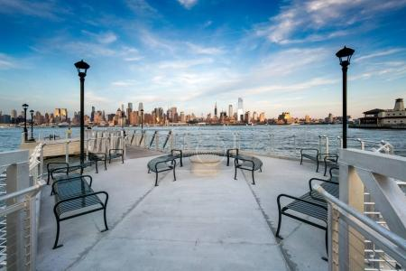 View of New York city from pier