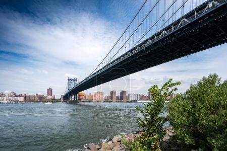 Photo pour Vue panoramique de la ville de Manhattan Bridge, New York, Usa. 2016 urbain aux États-Unis - image libre de droit