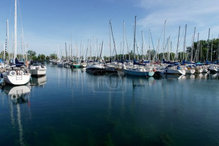 Stationary sailboats in port