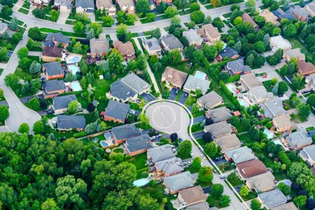 Photo for Aerial view of houses in residential suburb, Toronto, Ontario, Canada - Royalty Free Image