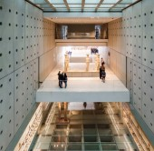 High angle view of tourists at New Acropolis Museum, Athens, Greece