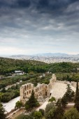 Aerial view of Theater of Herodes Atticus, Athens, Greece, Europe