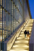 Rear view of couple climbing illuminated stairs at Stavros Niarchos Foundation Cultural Center, Athens, Greece