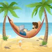 freelancer at the beach