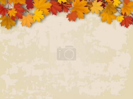 Illustration for Maple tree branch with autumn red and yellow leaves on old wall background. Vector realistic seasonal  background. - Royalty Free Image