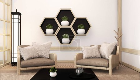 Idea of Hexagon shelf wooden design on wall and arm chair japane