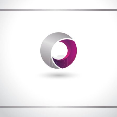 Illustration for Circle abstract logo. Pink and silver color. 3D effect with shadow. Logo design or icon vector template. - Royalty Free Image