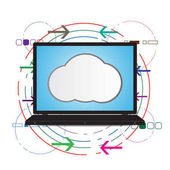 Technology digital future abstract cyber security concept background laptop with cloud and variety element vector illustration