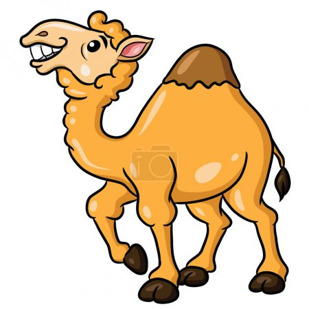 Illustration of cute cartoon camel.