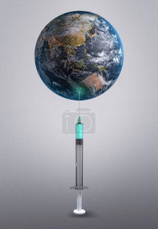 Photo for Vaccine For The Earth 3D Rendering. Elements of this image furnished by NASA - Royalty Free Image