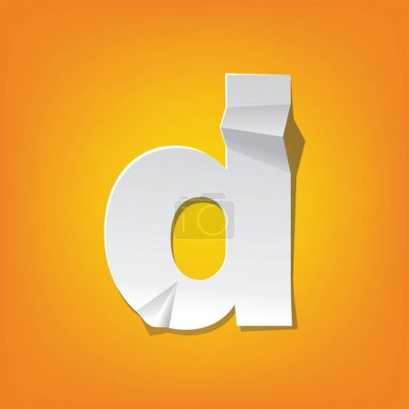 Illustration for The new design of the English alphabet, d Lowercase letter was folded paper some of the letters. Adapted from the font Myriad Pro extra bold. - Royalty Free Image