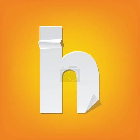 Illustration for The new design of the English alphabet, h Lowercase letter was folded paper some of the letters. Adapted from the font Myriad Pro extra bold. - Royalty Free Image