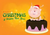 Santa Cat on cake is Greeting for Christmas eve bright backgroun