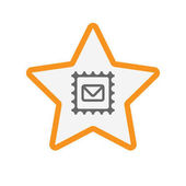 Isolated star with  a mail stamp sign