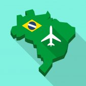 Illustration of a Long shadow map of Brazil its flag and a plane