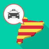 Long shadow Catalonia map with  a taxi icon