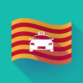 Long shadow Catalonia flag with  a taxi icon