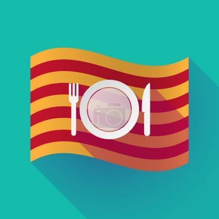 Illustration of a long shadow waving Catalonia fla...