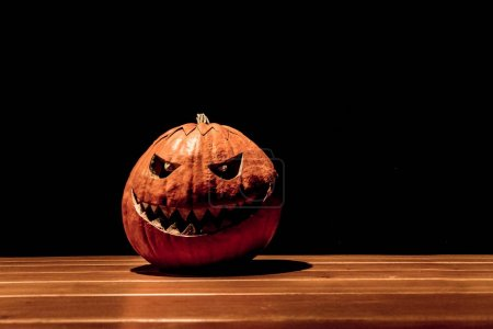 Big spooky helloween symbol has darkest mad face a...