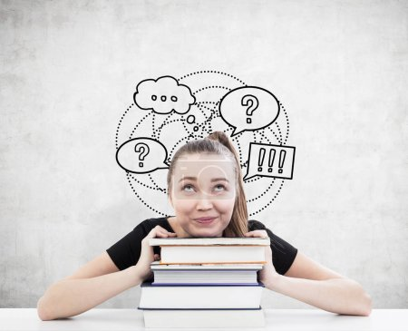 Woman with ponytail and books and speech bubbles