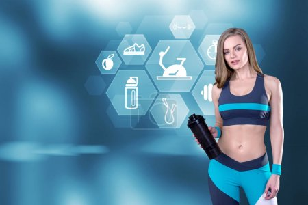Sportswoman and hexagonal sport icons
