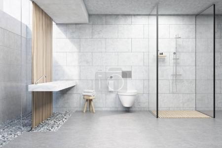 Gray brick shower
