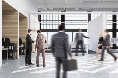 Photo pour Passants près de compartiments de bureau dans un bureau avec des murs blancs et en bois. Il y a vides verticales photos dans chacun d'eux, un bureau avec un ordinateur, une chaise et étagères. Vue de côté. rendu 3D - image libre de droit