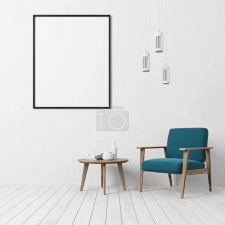 Photo pour Mur texturé blanc salon intérieur avec un plancher blanc, un fauteuil bleu, une table basse avec des livres et des bouteilles et une affiche verticale encadrée. Modélisation de rendu 3d - image libre de droit